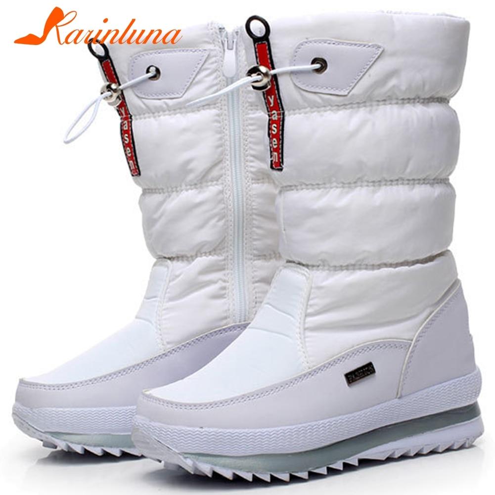 KARINLUNA nuevo 36-41 botas impermeables de media pantorrilla para mujer botas de nieve con plataforma antideslizantes para invierno cuñas zapatos de mujer