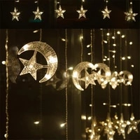eu plug moon star led light string christmas wedding party decoration fairy string lights home room new year lights decor