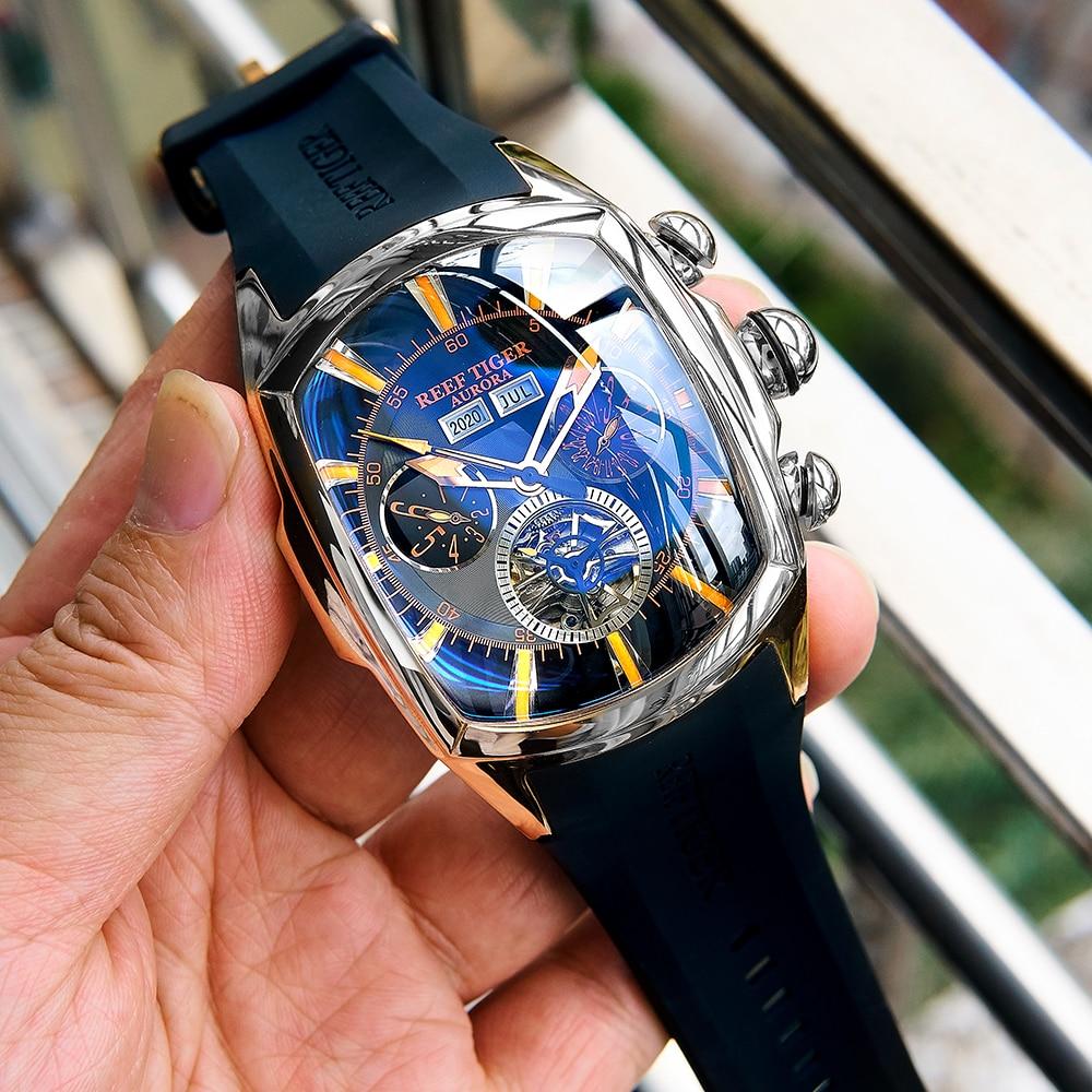 ريف النمر/RT مصمم الساعات الرياضية مع توربيون الفولاذ المقاوم للصدأ ساعة بحزام مطّاطي الأزرق الهاتفي ساعات أوتوماتيكية RGA3069
