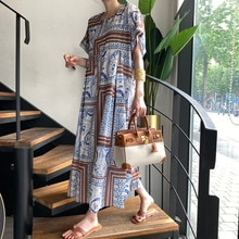 Summer 2021 Korean Chic Retro Ethnic Style Pattern Western Style Slimming Loose Long Short Sleeve Dr
