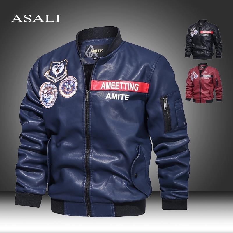 Vintage Faux Leather Jackets Men 2020 Motorcycle Velvet Thick Warm Faux Leather Homme Winter Coat Leisure Business Jacket Man