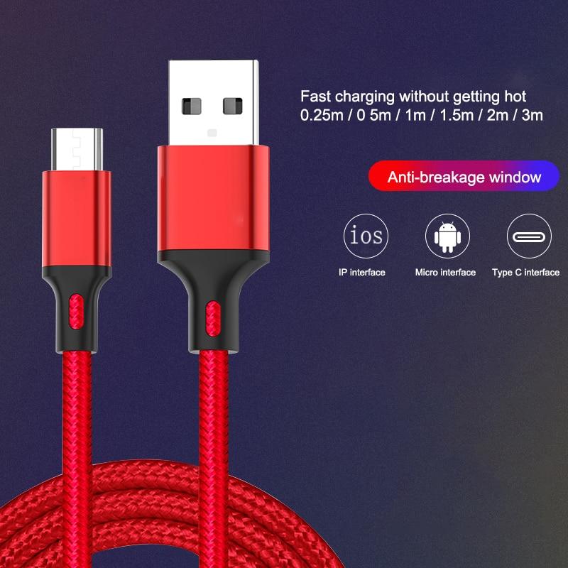 Cable micro-USB trenzado de nailon de 0,25 m/1m/2m/3m, Cable de sincronización de...