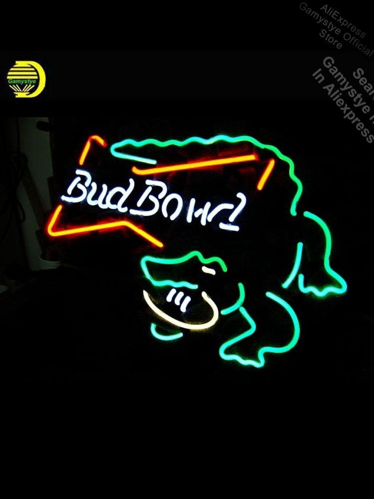 Budweise برعم عاء التمساح النيون ضوء النيون تسجيل جالس في الهواء الطلق الجدار ضوء أنبوب النيون متجر شخصية مخصص النيون النيون الفن