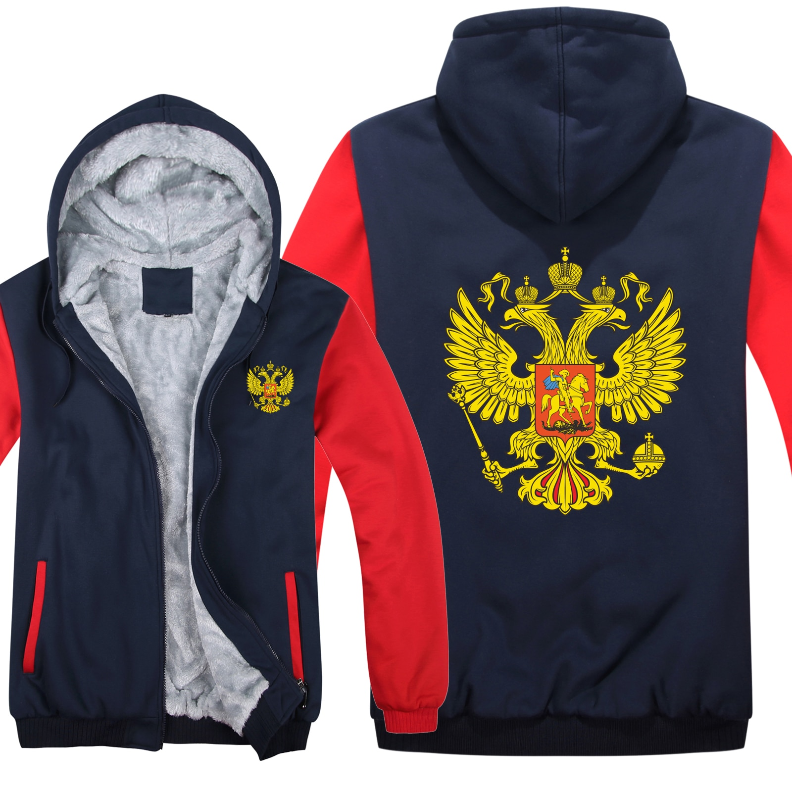 Russia Hoodies  Fleece Zipper Thicken Men Clothing Pullover Cool Russian Flag Sweatshirt Men