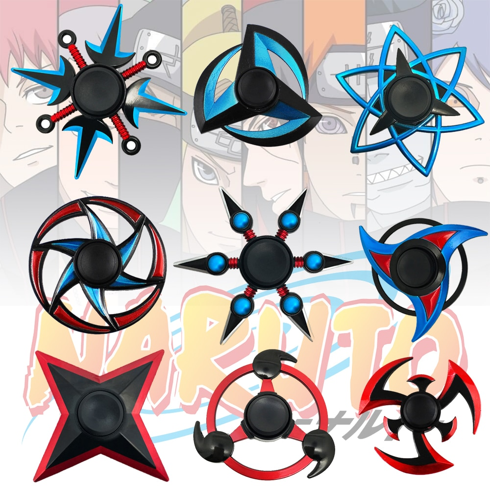 Металлический Спиннер-антистресс из аниме «Наруто», ниндзя, шурикен, дартс, Шаринган-форма, креативный ручной Спиннер, гироскоп для детей, и...