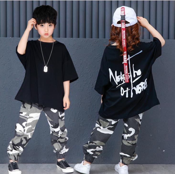 Ropa para niños y adolescentes americana, traje de manga corta, camiseta negra y pantalón de camuflaje, 2 uds., ropa para chico de Hip Hop 9 11 12 13 14 años