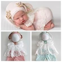 Pasgeboren Fotografie Props Baby Twin Meisjes Outfits Hoed Bunny Mutsen Set Kleding Fotografia Accessoires Studio Scheuten Bebes Foto