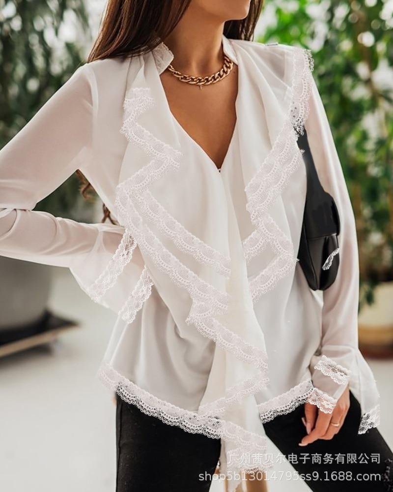High-quality women all-match blouse shirt, new and elegant women's clothing, white irregular ruffled long-sleeved V-neck blouse