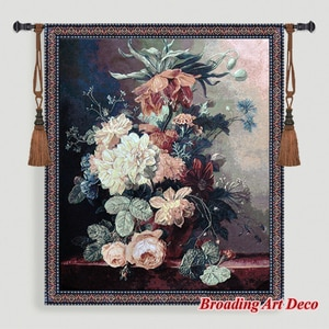 Still Life with Flowers Jacquard Weave Tapestry Wall Hanging Gobelin Home Art Textile Decoration Aubusson Cotton 100% 138x118cm