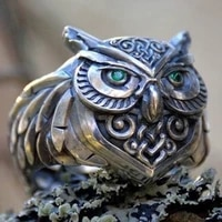 punk viking mens 316l stainless steel owl ring fashion domineering celtic knot engagement wedding rings