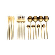 Lingeafey Gold Cutlery Tableware Spoon Set 16 Pcs Fork Spoon Knife Set Stainless Steel Kitchen Dinnerware Set for Weddings New