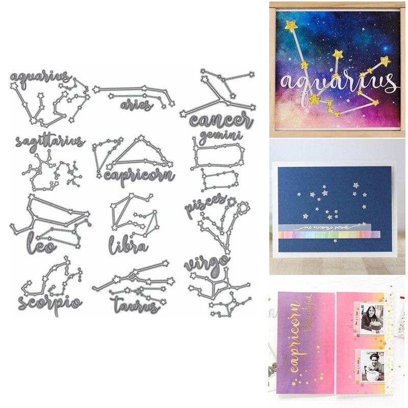 12 Constelaciones estrella línea cielo estrellado Leo Aries Virgo Metal troqueles de corte hacer tarjetas Scapbook Craft plantillas álbum Venta caliente