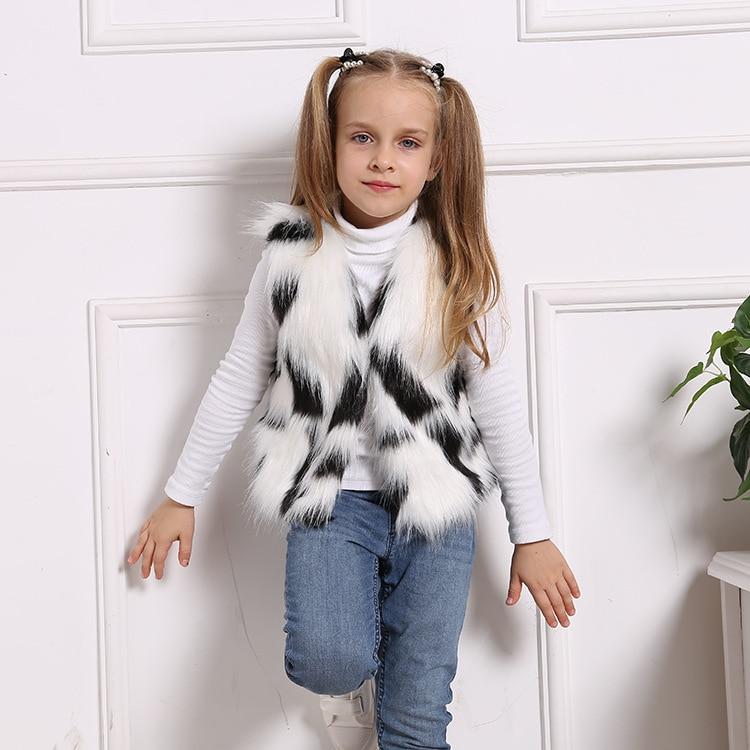 2020 NEW  !! Kids faux fur vest  / Winter waistcoat jacket / Black and white colors mixed toddler fur vest