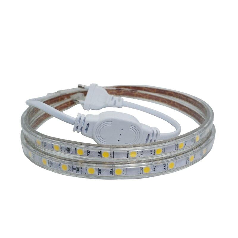 5050 220 V Volt LED tira de luz 5050 Flexible Ledstrip 220 V impermeable Ip67 cinta sala de estar cocina enchufe de alimentación al aire libre