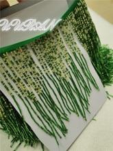 Cinta de borla de flecos hecha a mano para disfraz de baile cinta de borla de diamante verde para vestido decoración de boda de moda