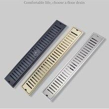 Brush gold Floor Drain 304 SUS shower floor drain long Linear drainage Channel drain for hotel bathroom kitchen floor Black