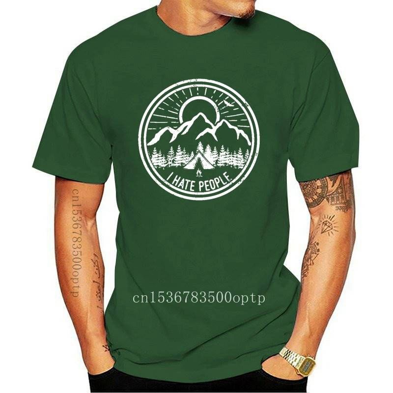 Camping Lovers Mountain Forest Landscape Tshirt Stay Wild I Hate People Black Natural Scenery Cotton Tops & Tees Male Shirt