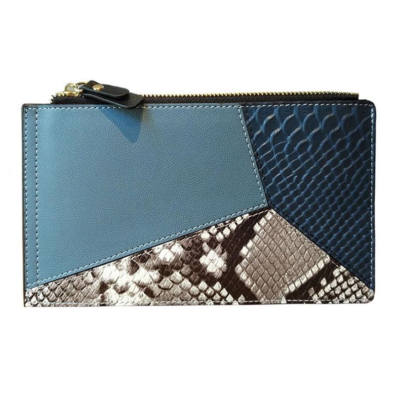 KANDRA Women Genuine Leather Wallets Snake&Crocodile Skin Patchwork Long Design Credit Card Holder Female Purse Bifold Wallets