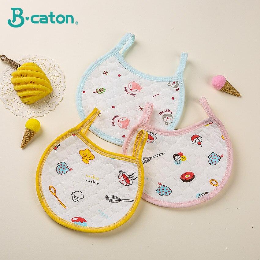 5 PCS Baby Bibs Cotton 3D Thickening Water Absorption Waterproof  Bibs Baby Burp Cloths Cute Cartoon Pattern Fit  0-1 Years Old