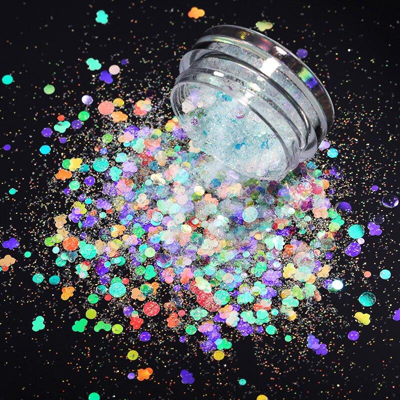 1 caixa holographics colorido prego em pó irregular lantejoulas borboleta floco decoração da arte do prego cromo pigmento
