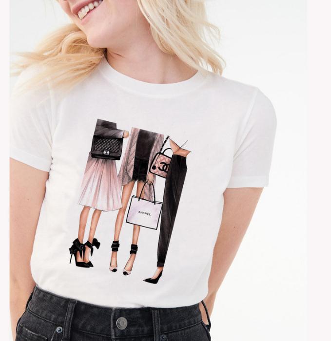 Patrón de arte impreso literatura y estilo de arte de manga corta Camiseta mujer 2019 verano nuevo estilo Vova