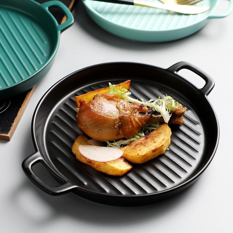 Prato de prato redondo prato prato de cozimento binaural prato de pizza forno criativo cerâmica ocidental utensílios de cozinha microondas forno placa plana