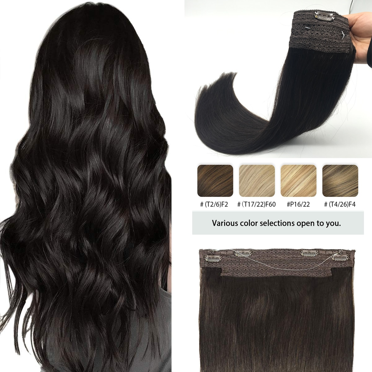 Straight Halo Human Hair Extensions Invisible Hidden Fish Wire Hair Ombre Hairpiece Hidden Crown Wire Hair Extension With 4Clips