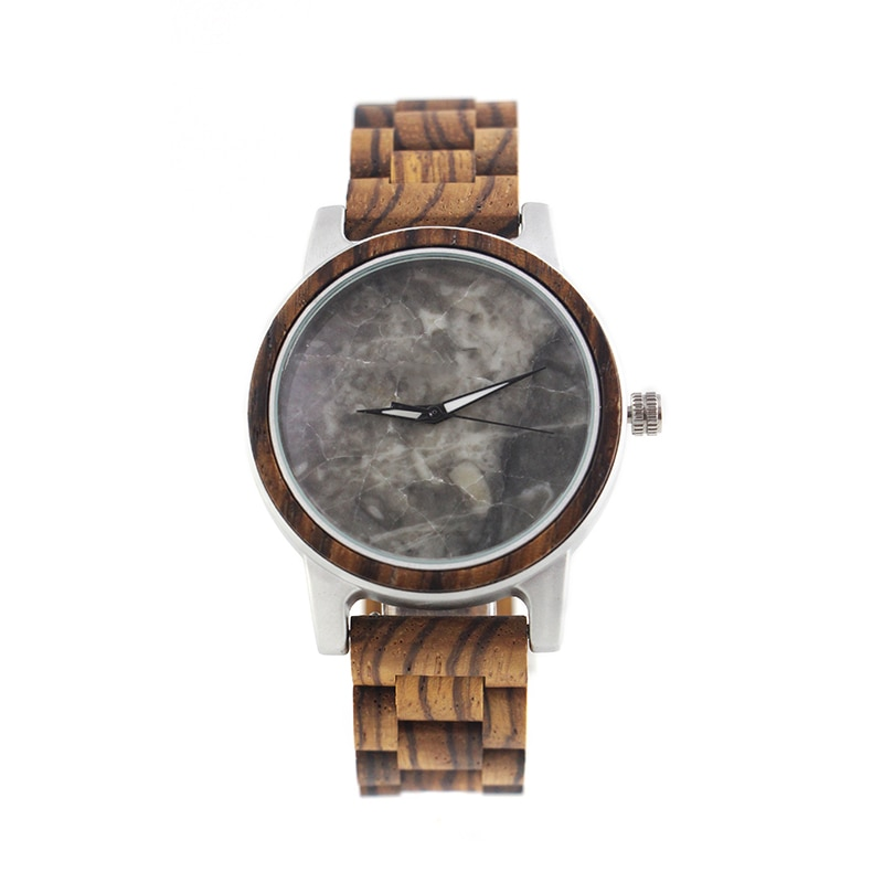 Oem Logo Quartz Engraved Glow in the Dark Silver Look Gray Marble Dial and Zebra Band Wooden Watch for Men with Luminous Hand enlarge