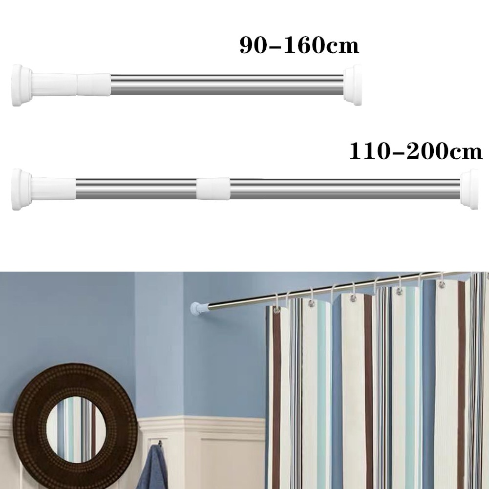 Telescoping Metal Shower Curtain Pole Multifunctional Adjustable Rail Rod Clothesline Bathroom Accessories(110-200/90-160cm) enlarge