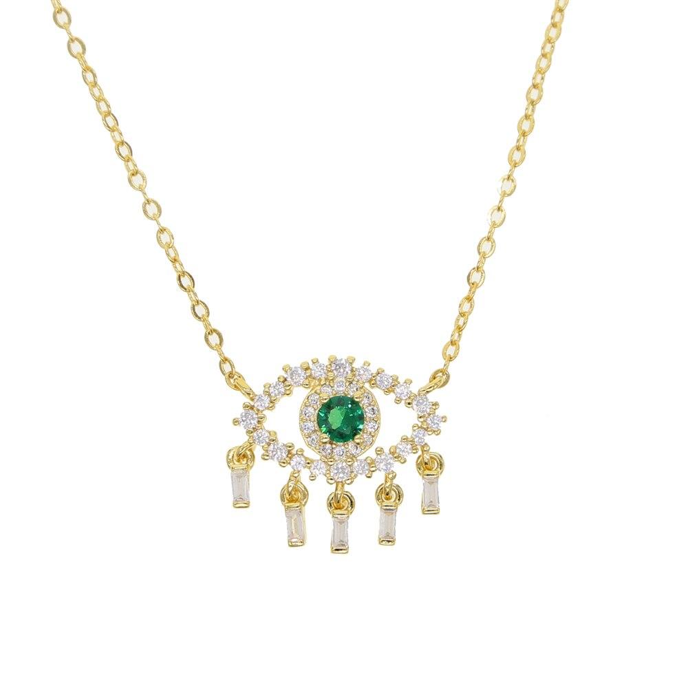 Gargantilla colgante Kolye Moana collares nueva gran oferta 2020 collar de pestañas con piedras Pave green Eye Cz colgante joyería para mujer