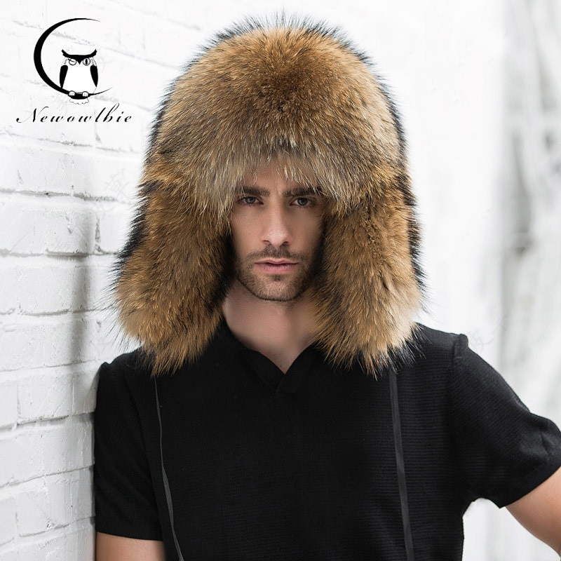 2021 Natural Color Fur Hat Siberian Style Fur Hat  Raccoon Full Ushanka Hat for middle-aged cotton cap Lei Feng hat Winter hat