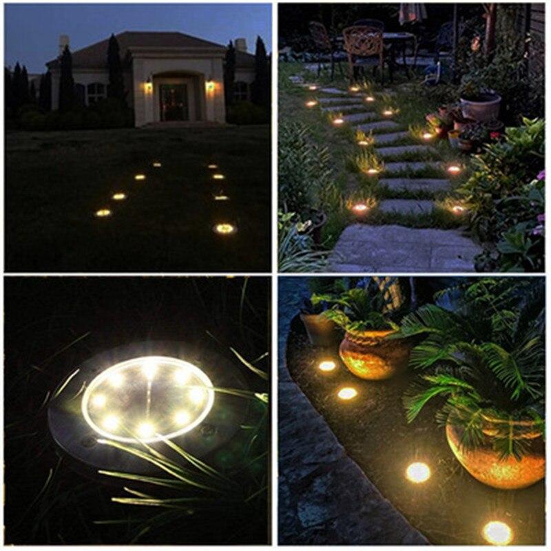 Наземные фонари на солнечной батарее, 8 светодиосветодиодный, водонепроницаемые уличные фонари для дорожек, двора, дорожки, патио, лужайки