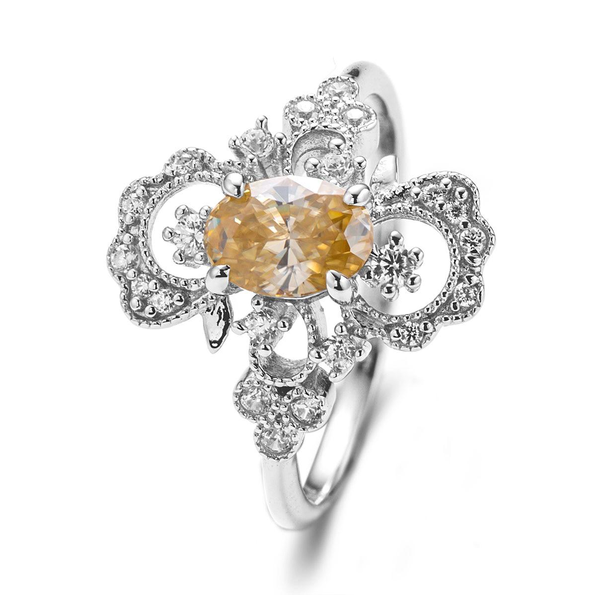 2021 925 خاتم زفاف شامبانيا ذهبي أبيض D VVS1 قبول خاتم مويسانيتي مخصص حسب الطلب مزود بمصنع خاتم نسائي