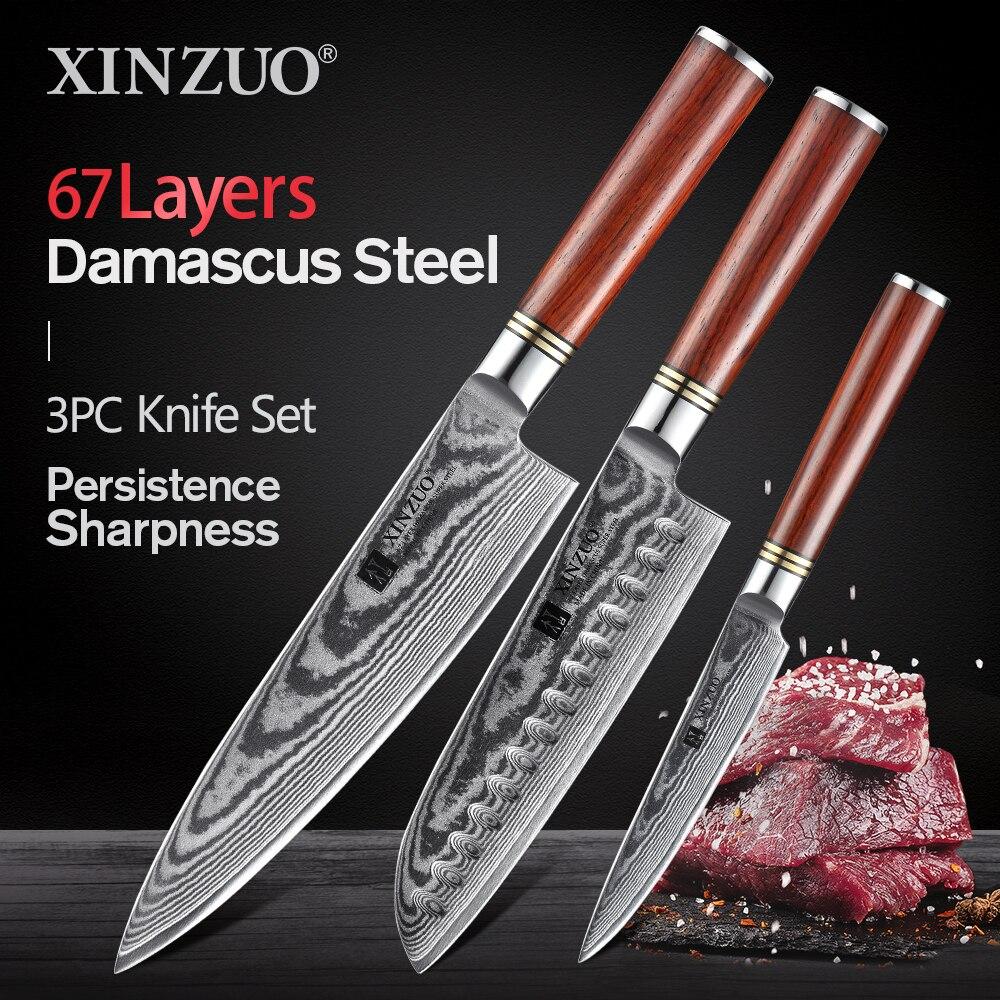 XINZUO 3 قطعة سكين مطبخ مجموعة دمشق الفولاذ المقاوم للصدأ سكاكين المطبخ الشيف فائدة Santoku سكين المطبخ أداة روزوود مقبض