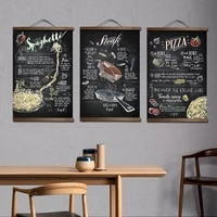 pizza hamburger restaurants decorative canvas picture poster for restaurant window wall art solid wood scroll paintings decor