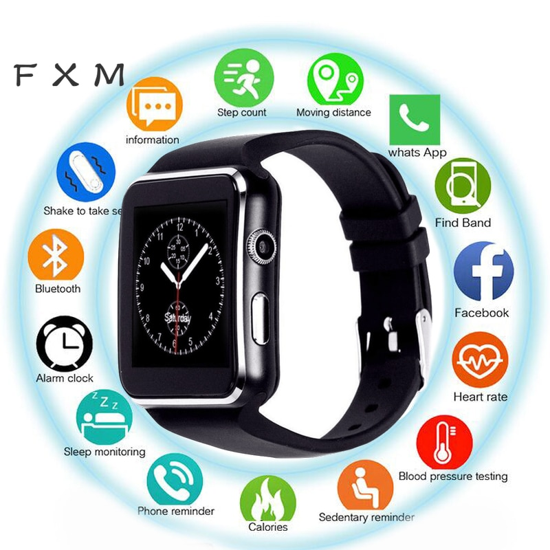 2018 good selling bluetooth smart watch android 5 1 ram 512 rom 4g support sim card 3g wifi camera 0 3 mp sim card skype ios X6 Smart Watch Men Support SIM TF Card  Camera Smartwatch Bluetooth Dial with Camera Touch Screen for IPhone Xiaomi Android IOS
