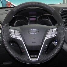 LQTENLEO-couverture de volant de voiture   Cuir véritable suédé noir, cousu à la main, bricolage, pour Hyundai Santa Fe 2013-2018 ix45 2013-2016