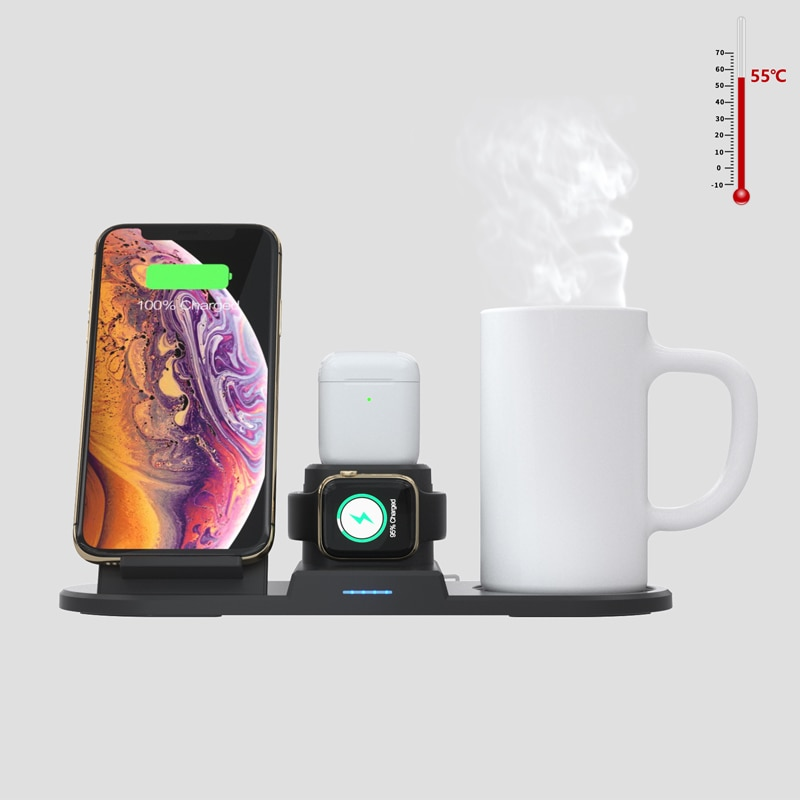 شاحن لاسلكي 15 واط لهاتف آيفون XS Max / XR /Galaxy S9 / S9 / Support QI لاسلكي لشحن iWatch إصدار 4/3/2/1
