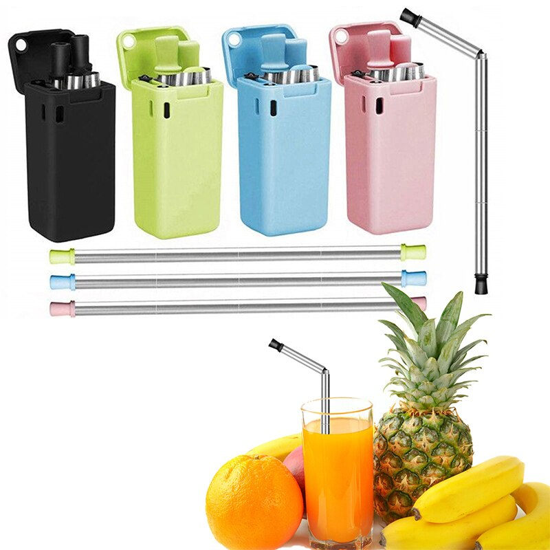 Folding Reusable Straw Reusable Food Grade Silicone Straw Outdoor Portable Foldable Drinking Straw With Case and Cleaning Brush