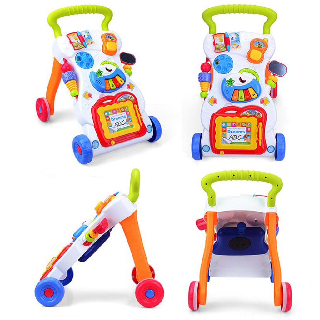 Multi-Functional Sit-to-Stand Push Along Walker - Features a Removable Toddler Play Panel,Baby Early Developmental Toy