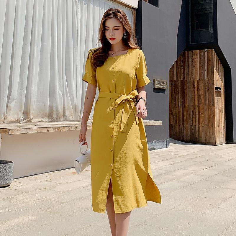 Women Cotton and Linen Dress 2020 Summer Fashion Female Short Sleeve Vintage Lace Up Casual Loose Wrap Dresses A-line Vestidos