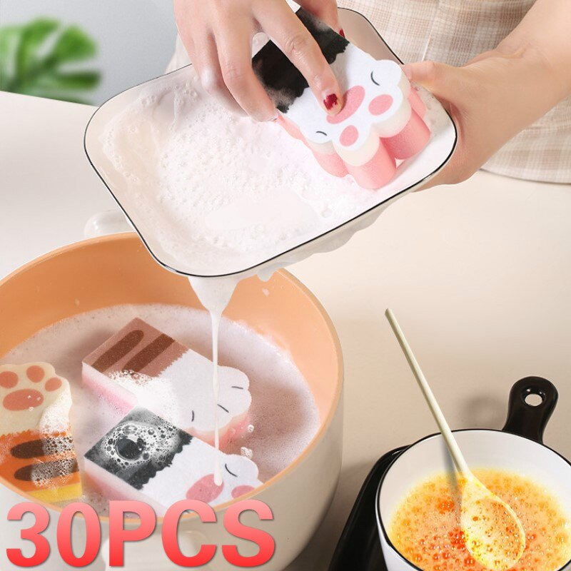 30Pcs Scouring Pad Dish Cloth Cleaning Brush Kitchen Rags Strong Decontamination Dish Towels Household Cleaner Sponge Brush enlarge