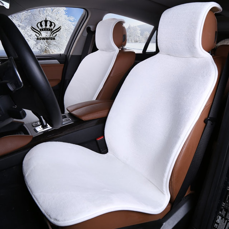 Faux fur Car Seat Cover winter White Universal Automotive interior Artificial fur Car Seat Cushion F