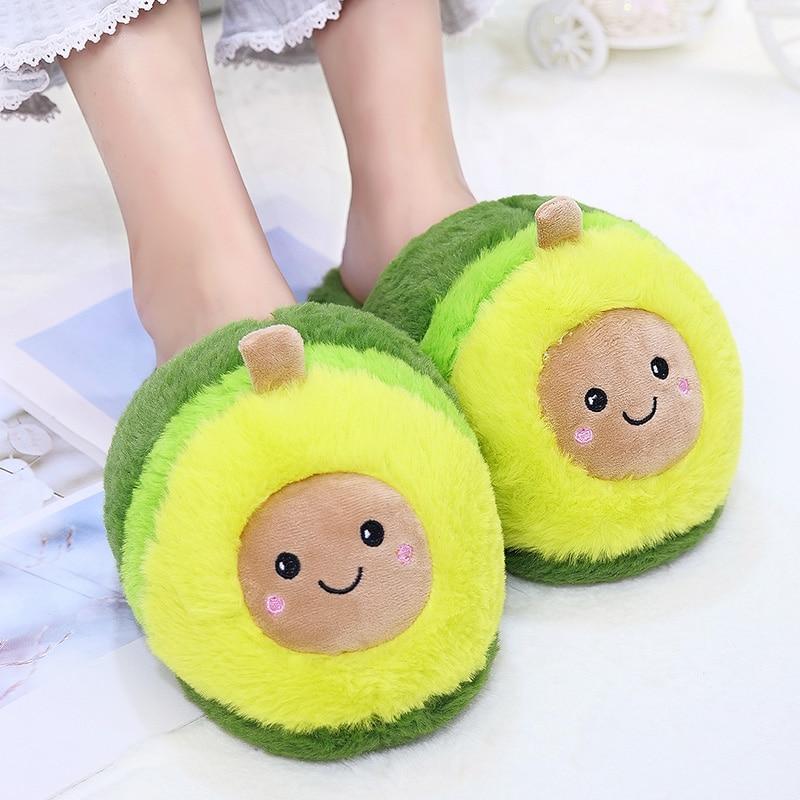 1PC Fruit Avocado Plush Slippers Animals Indoor Floor Shoes Big Kids Girls Stuffed Carrtoon Slippers Anti-slip Dot Sole