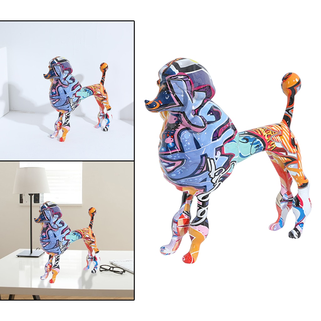 Colorful Resin Dog Ornament Mini Statue Animal Figurine Car Indoor Decor  - buy with discount