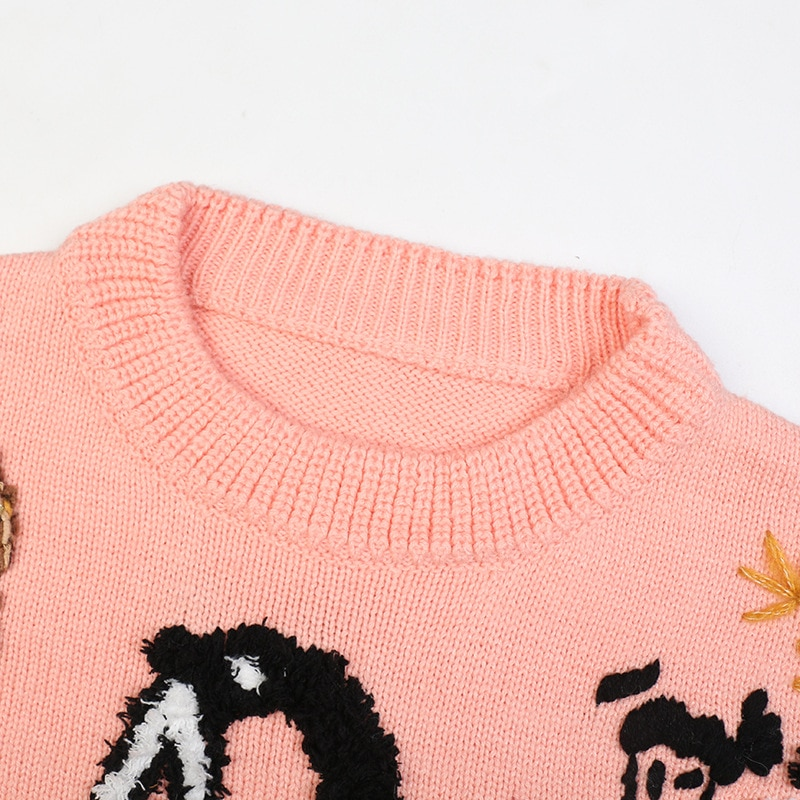 SHUCHAN Pattern Womens Knit Pullover Autumn Embroidery Chinese Style O-Neck  Animal  Regular Yarn  Woman Sweaters 2021 enlarge