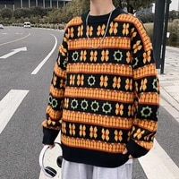 winter new sweater couple round neck men korean style trend loose japanese pullover mens yellow clothes free shipping