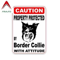 aliauto caution car stickers property protected by border collie dog vinyl decal cover scratches for bmw toyota audi15cm11cm