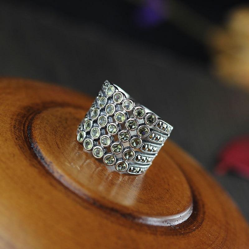 Joyería de plata de ley S925, hereda la clásica plata tailandesa, fina anillo de amatista para mujeres