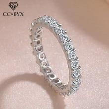 CC anelli in argento massiccio 925 per donna anello con zirconi cubici oro bianco matrimonio fidanzamento gioielli alla moda Bijoux Femme CC1565